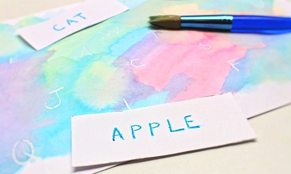 Crayon Resist Watercolour Letter Search