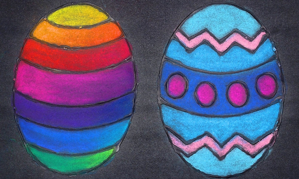 Glue and Chalk Pastel Easter Egg Craft