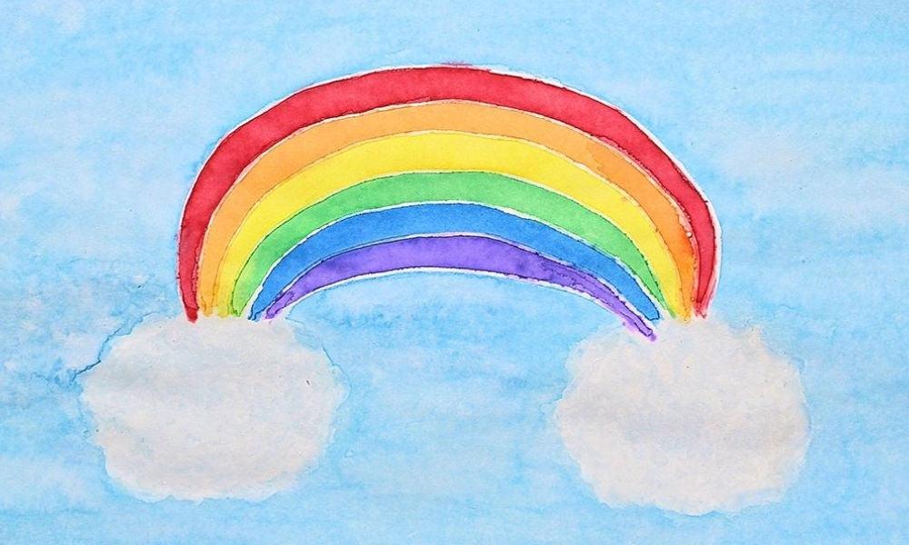 Glue Resist Watercolor Rainbow Craft