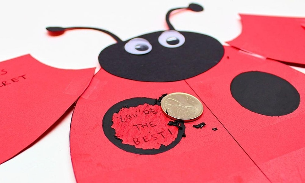 Homemade Scratch-Off Ladybug Card