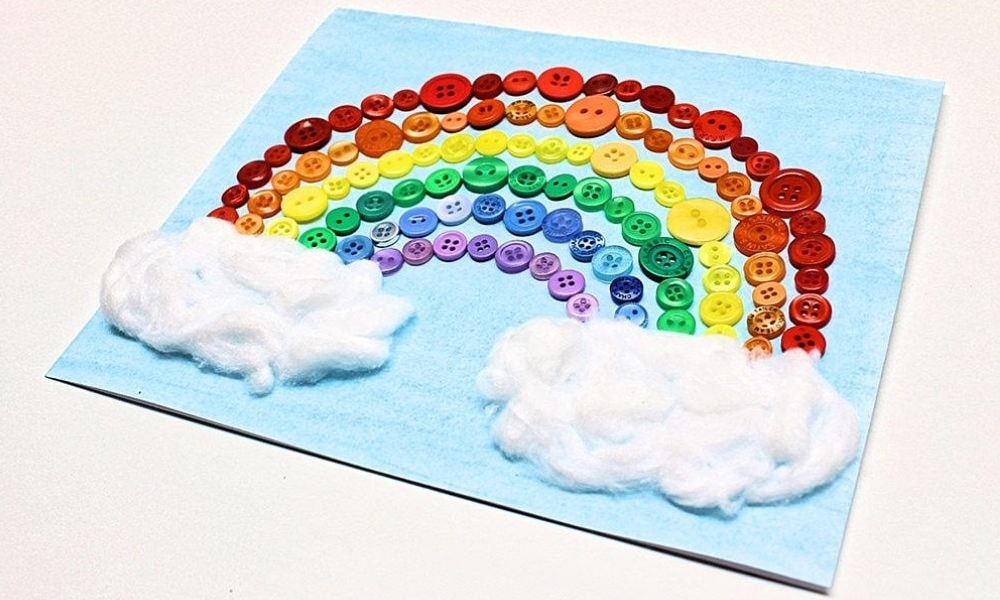 Homemade Button Rainbow Card
