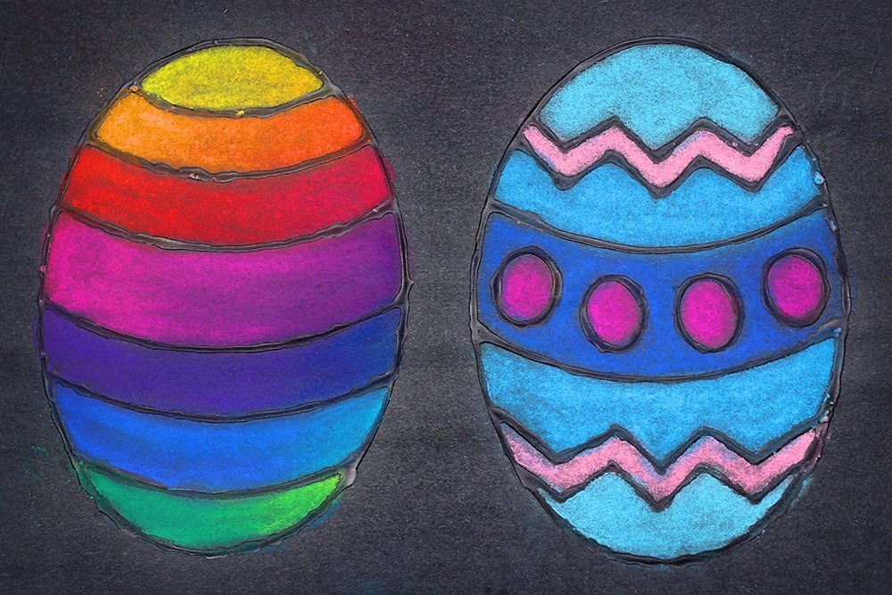 Glue and Chalk Pastel Easter Eggs on Black Background