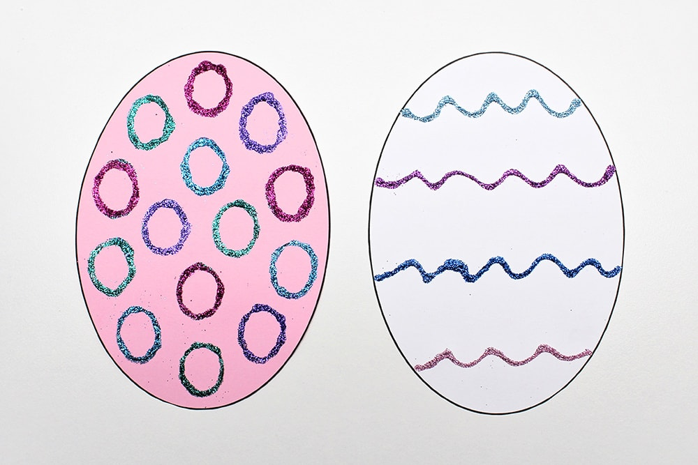 Let Glue and Glitter Easter Egg Design Dry