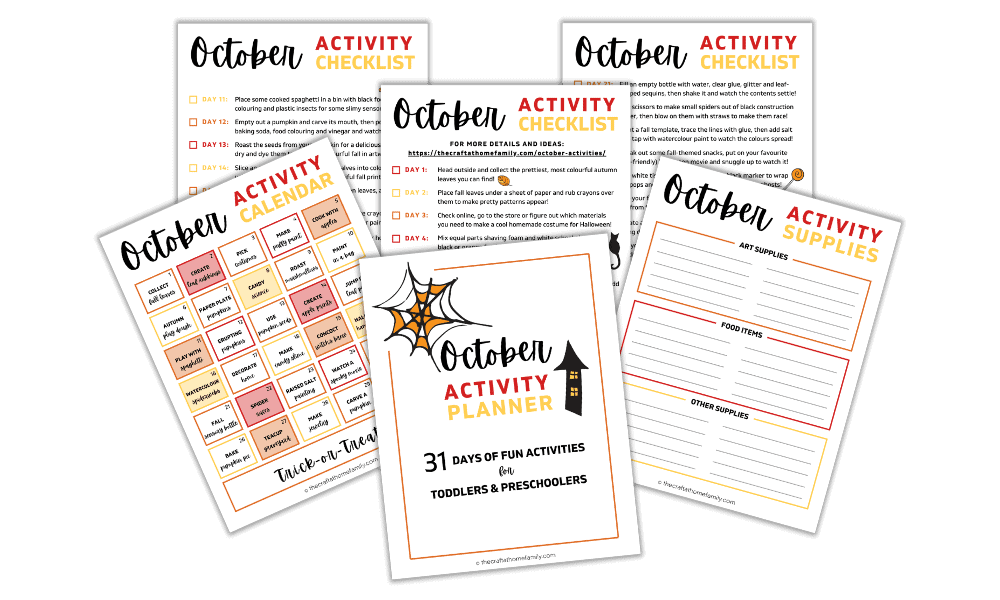 Free October Activity Planner for Toddlers and Preschoolers