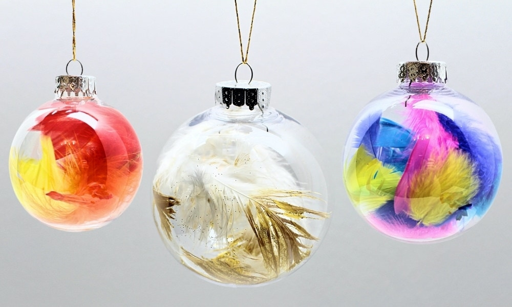 Easy Feather Christmas Ornaments