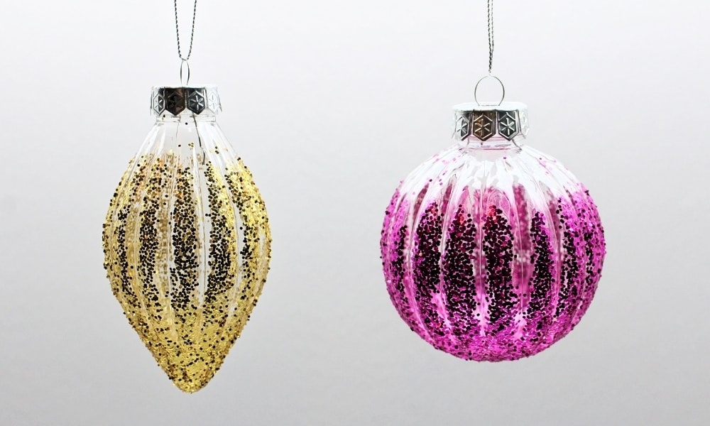 DIY Ribbed Glitter Christmas Ornaments