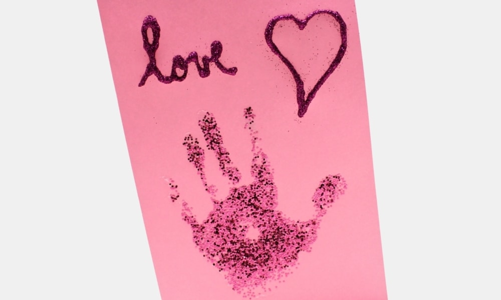 Glitter Handprint Valentine's Day Card