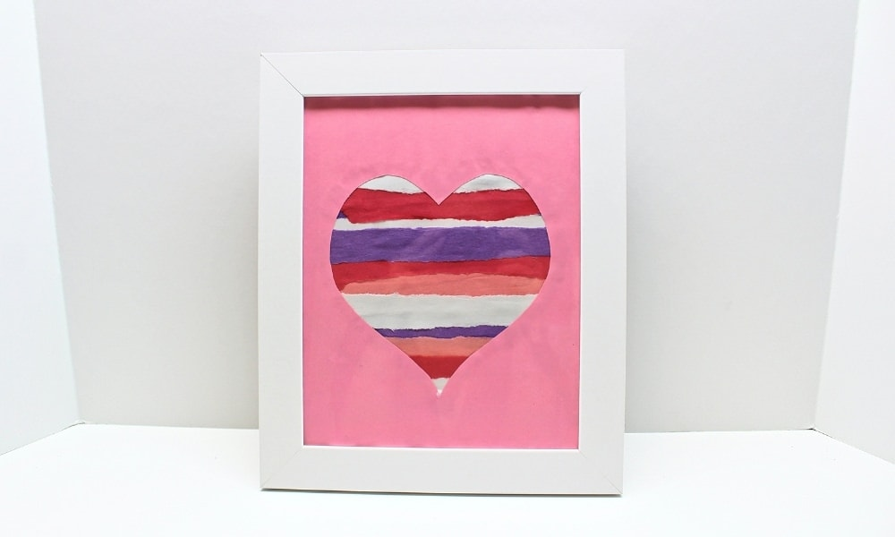 Torn Paper Strip Valentine's Day Heart Craft
