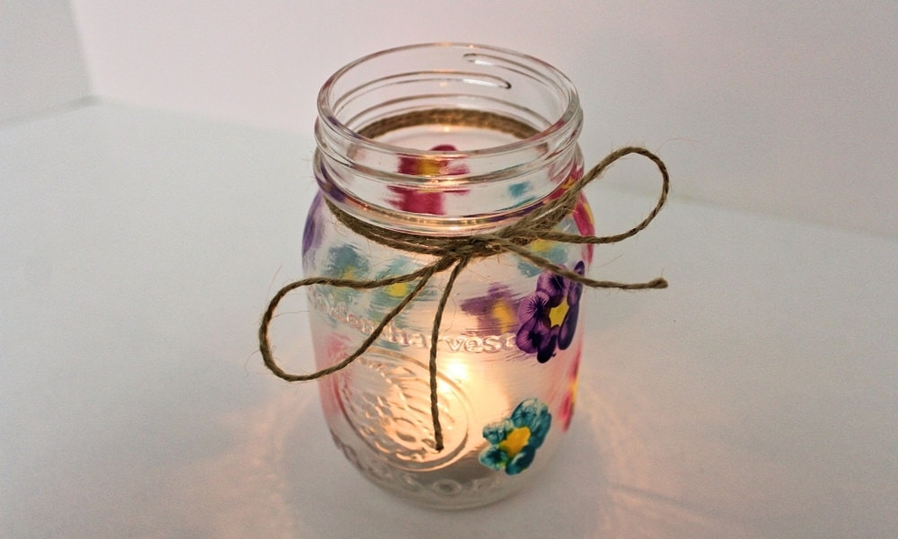 DIY Thumbprint Flower Mason Jar Candle Holder for Mother's Day Gift