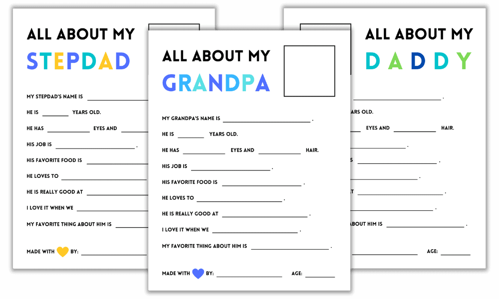 """Father's Day Printables: """"All About My Daddy"""" + """"All About My Grandpa"""" + """"All About My Stepdad"""""""