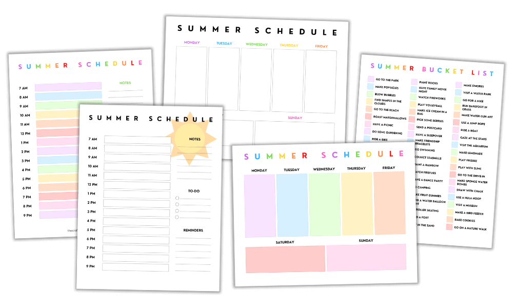 Free Printable Daily and Weekly Summer Schedule + Bonus Summer Bucket List for Kids