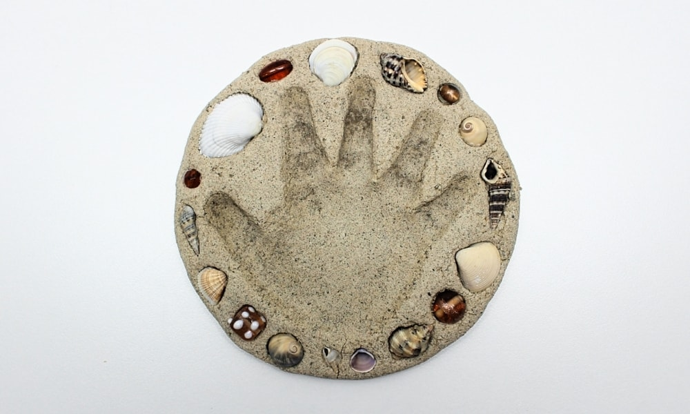 DIY Sand Clay Seashell Handprint Keepsake