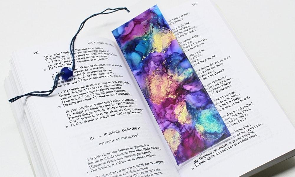 DIY Alcohol Ink Bookmark in Book