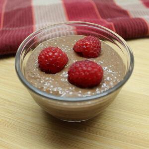 Coffee & Chocolate Chia Seed Pudding with Raspberries