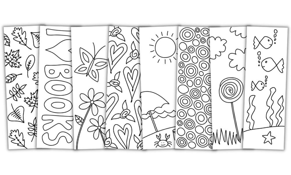 Free Printable Bookmarks to Color for Kids & Adults