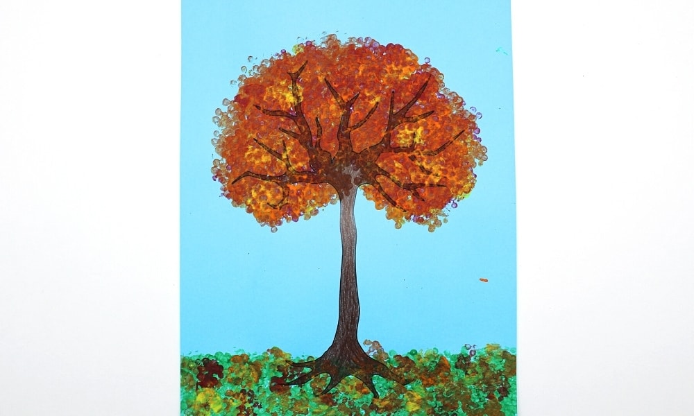 Fall Tree Painted with Bundled Cotton Swabs